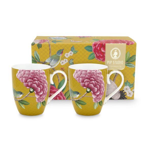 Blushing Birds Set/2 Large Yellow Mugs 350ml