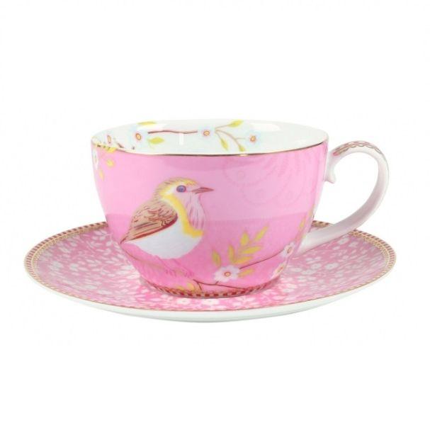 Pip Studio Early Bird Set/2 Pink Cups & Saucers