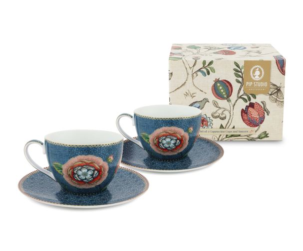 Set of 2 Blue Spring to Life Cappuccino Cups and Saucers