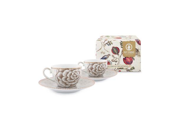 Set/2 Espresso Cups & Saucers Spring to Life Cream