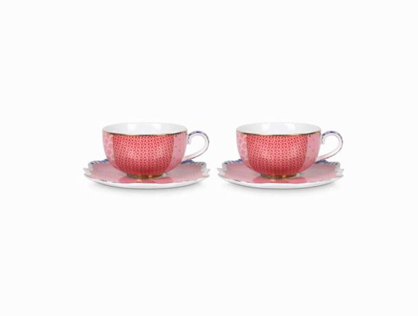 Set/2 Espresso Cups & Saucers Royal Pink