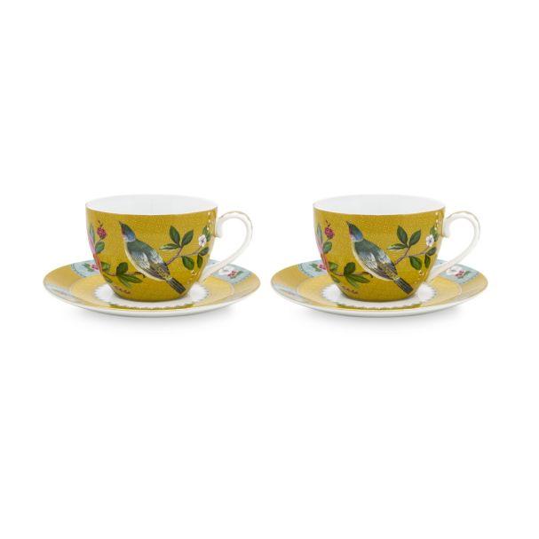 Blushing Birds Set/2 Yellow Cups & Saucers 280ml