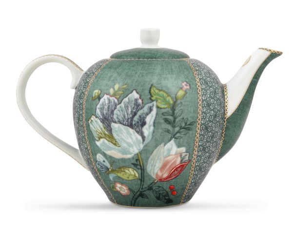 green spring to life teapot