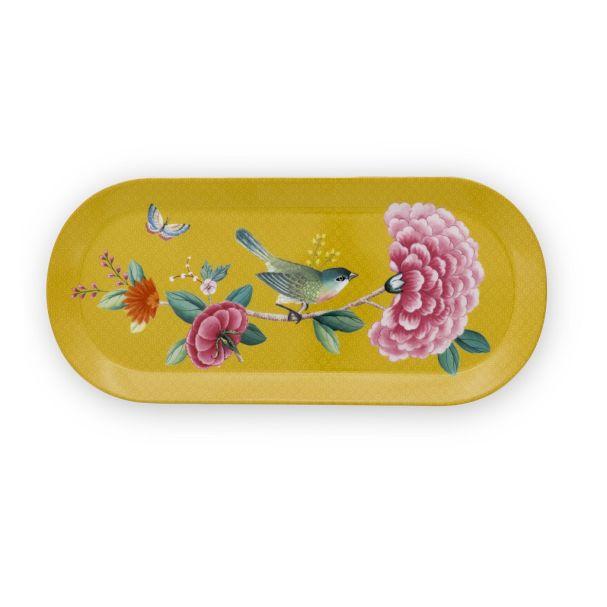 Blushing Birds Rectangular Yellow Cake Tray 33.3x15.5cm