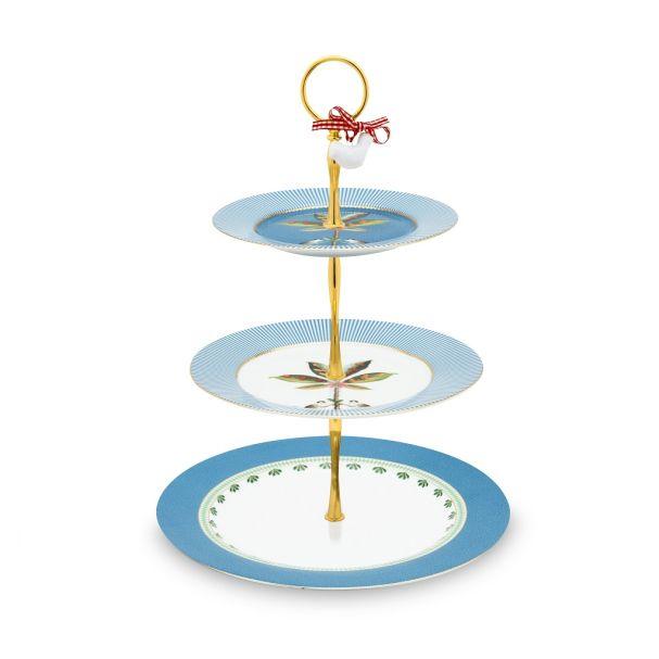 Cake Stand 3/Layers La Majorelle Blue 17-21-26.5cm