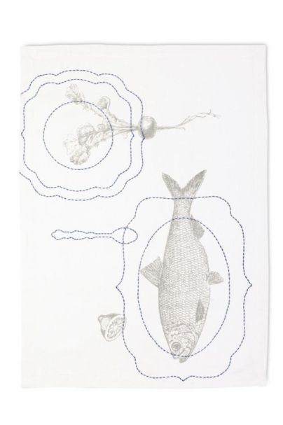 Embroidery Plates Tea Towel Fish 50x70 cm Multi