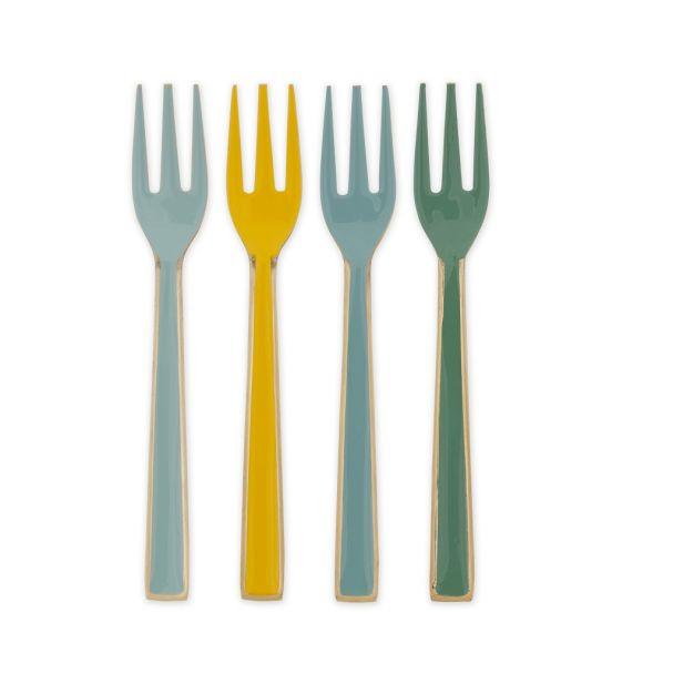 Blushing Bird Set of 4 Enamelled Multi Colour Cake Forks 16cm