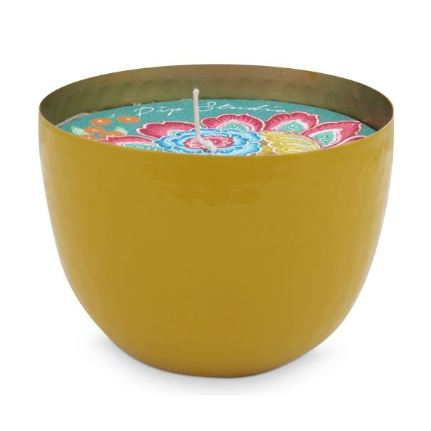 Blushing Birds Yellow Cup with Candle 11cm