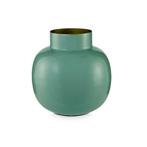 Green Round 25cm Metal Vase