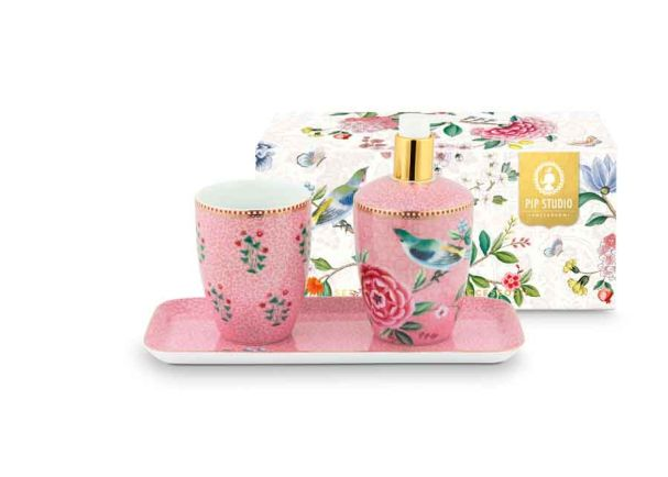 Set/3 Bathroom Accessories Floral Good Morning Pink