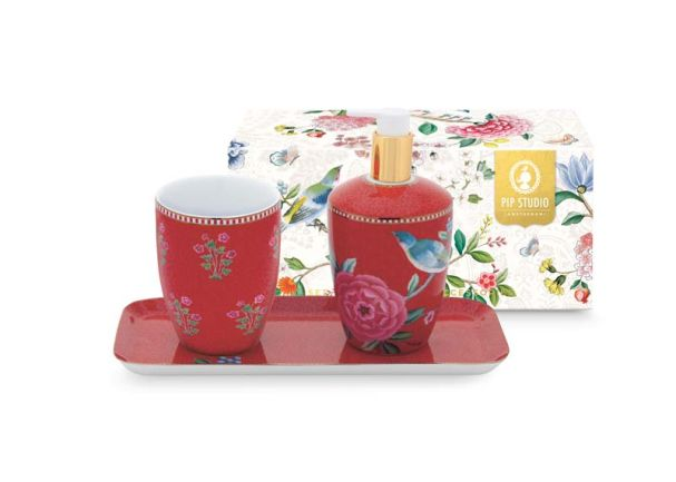 Red Good Morning Set of Three Bathroom Accessories