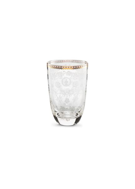 clear floral tall glass