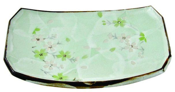 Tokyo Design Green Cosmos Rect. Plate 18.5x12.5cm