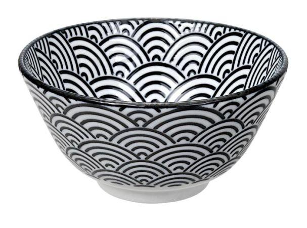 Tokyo Design Nippon Black Rice Bowl 12x6.4cm Wave