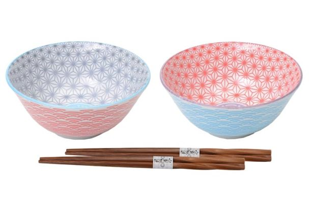 Tokyo Design Star Wave Tayo Bowl Set Of 2 With Chopsticks 15x6.5cm
