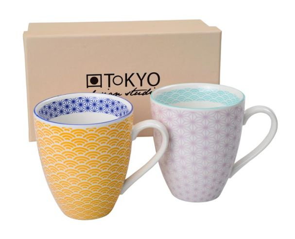 Tokyo Design Star Wave FC Mug Set of 2 Yellow/Light Purple
