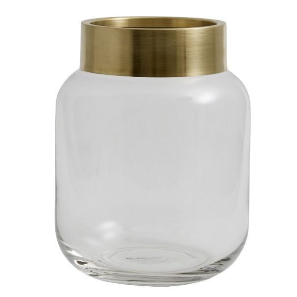 Nordal Clear Deco Vase With Brass Lid