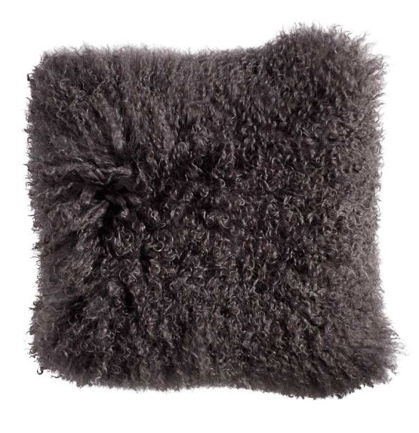 Lamb fur cushion cover warm grey