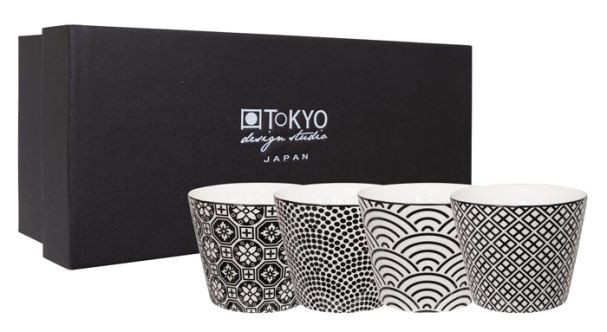 Tokyo Design Set of 4 Nippon Black Teacups in Gift Box