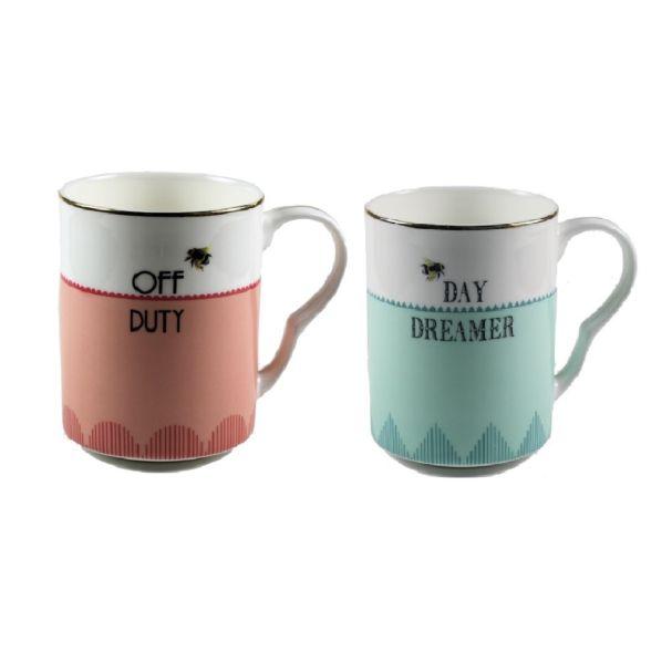 Yvonne Ellen Set/2 Mugs Off Duty/Day Dreamer