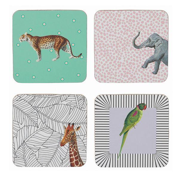 Yvonne Ellen Set of 4 Mixed Animal Coasters